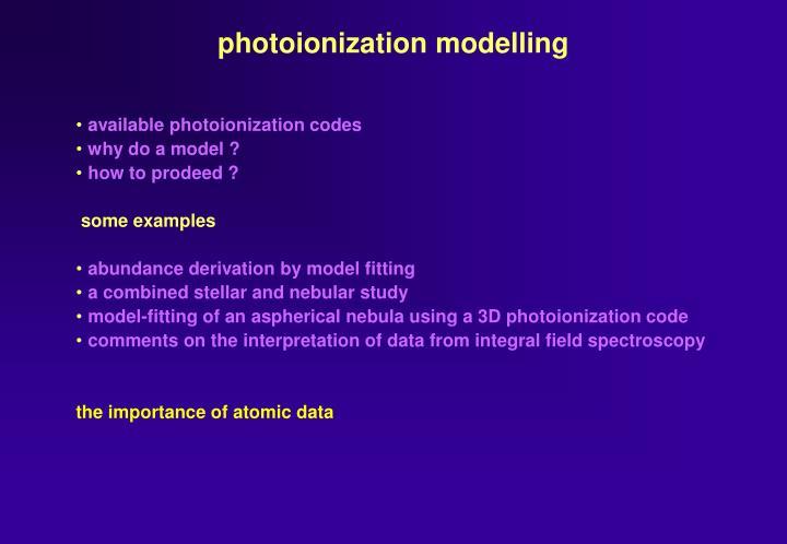 photoionization modelling