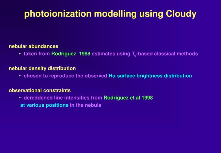photoionization modelling using Cloudy