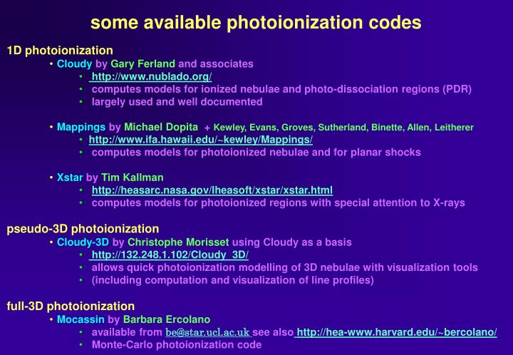 some available photoionization codes