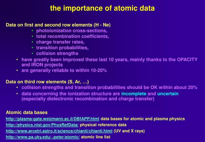 the importance of atomic data