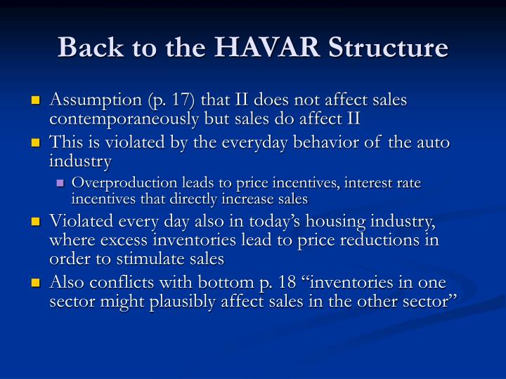 Back to the HAVAR Structure