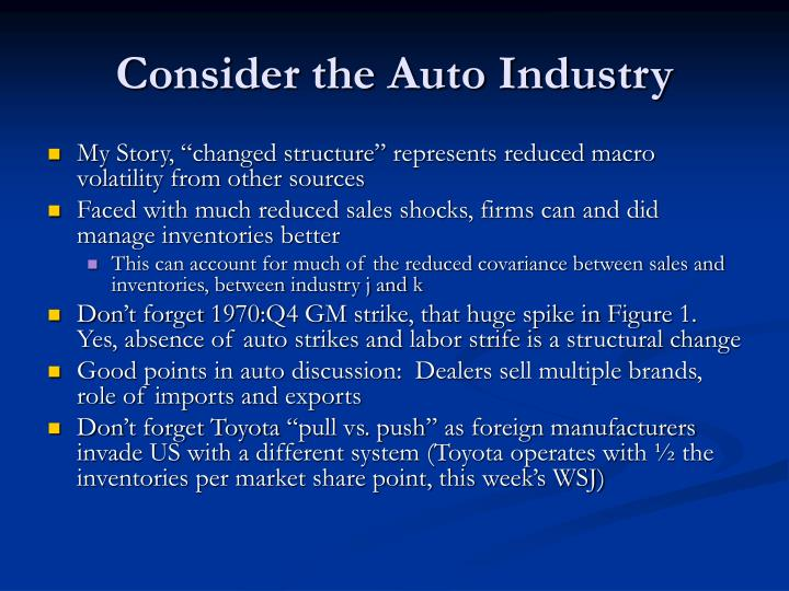Consider the Auto Industry