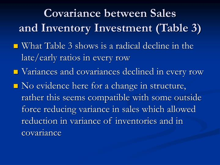 Covariance between Sales