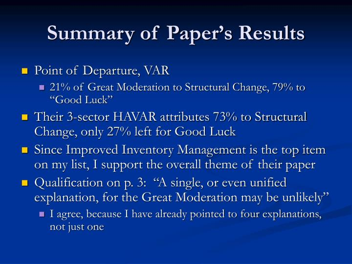 Summary of Paper's Results