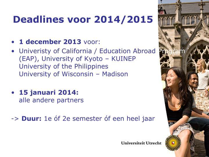Deadlines voor 2014/2015