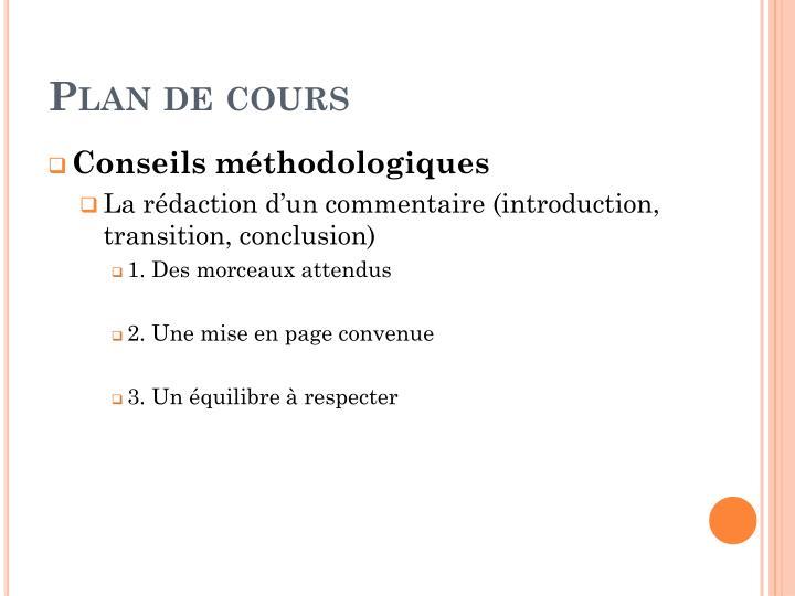Plan de cours