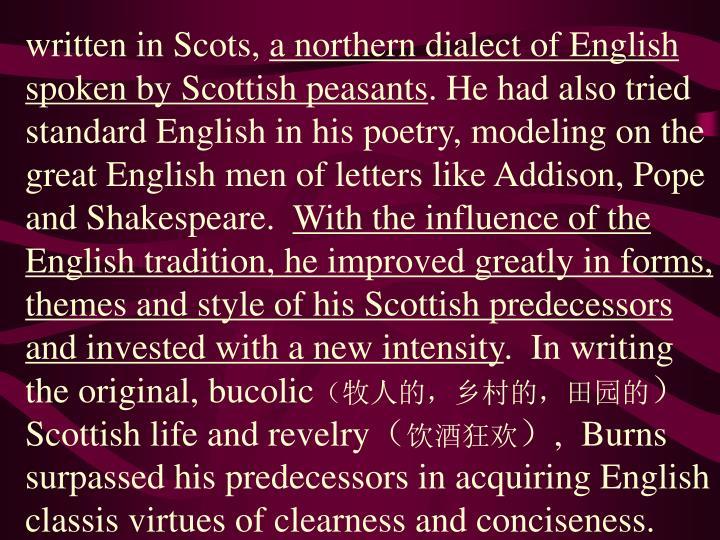 written in Scots,