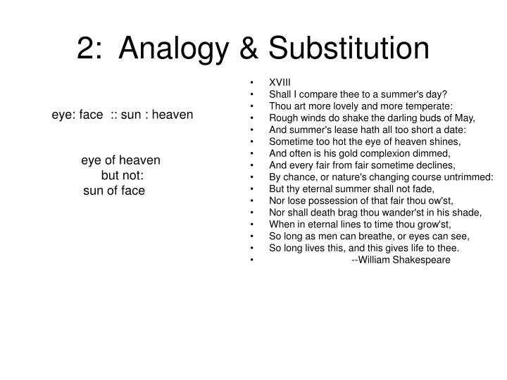2:  Analogy & Substitution