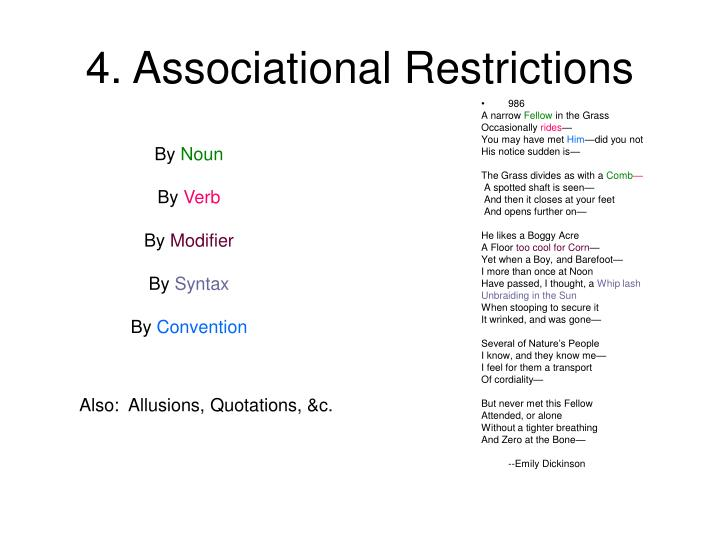 4. Associational Restrictions