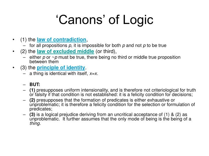 'Canons' of Logic