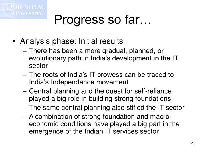 Progress so far…