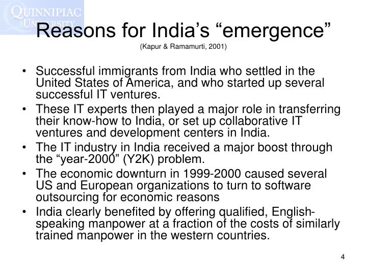 """Reasons for India's """"emergence"""""""