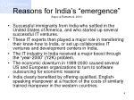 reasons for india s emergence kapur ramamurti 2001