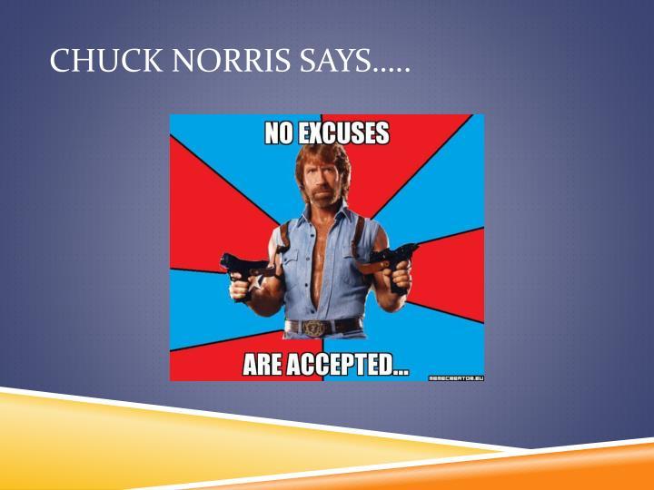Chuck Norris Says…..