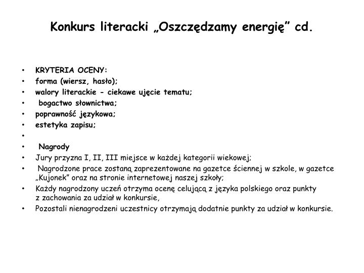 """Konkurs literacki """"Oszczędzamy energię"""