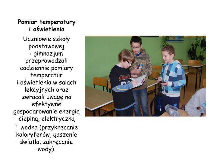 Pomiar temperatury     i oświetlenia
