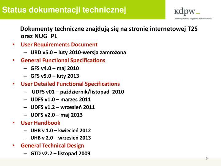 Status dokumentacji technicznej