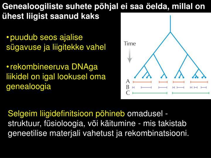 Genealoogiliste suhete põhjal ei saa öelda, millal on ühest liigist saanud kaks