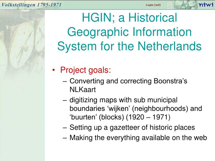 HGIN; a Historical Geographic Information System for the Netherlands