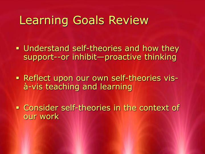 Learning Goals Review