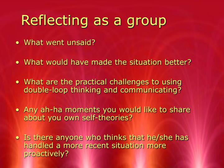 Reflecting as a group