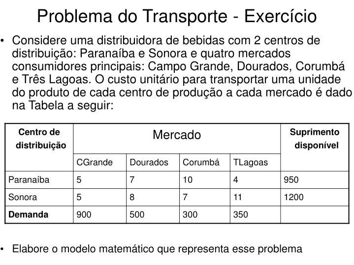 Problema do Transporte - Exercício