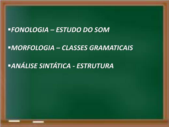 FONOLOGIA – ESTUDO DO SOM