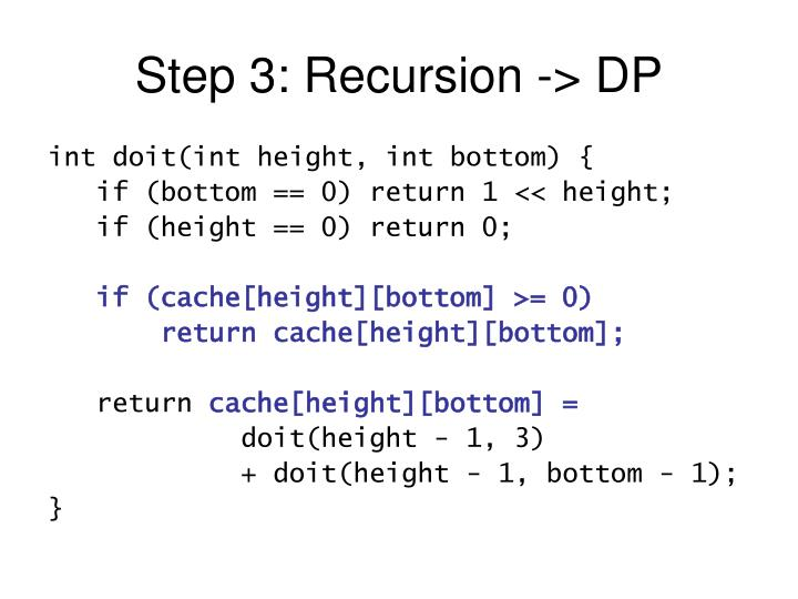 Step 3: Recursion -> DP