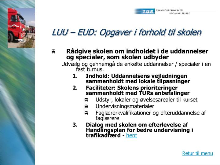 LUU – EUD: Opgaver i forhold til skolen