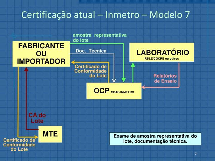 Certificação atual – Inmetro – Modelo 7