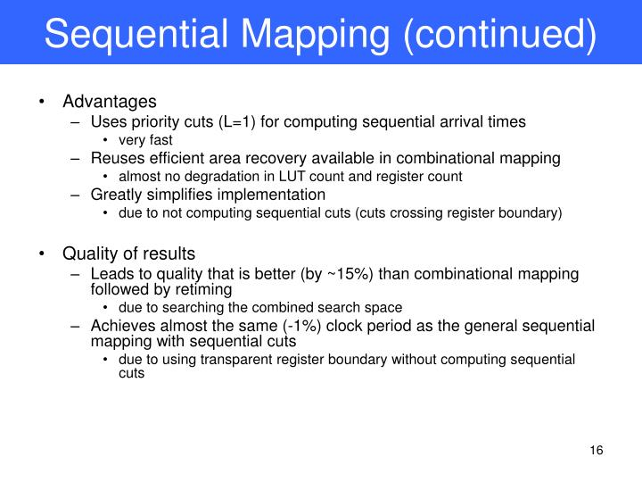Sequential Mapping (continued)