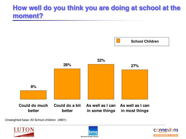 How well do you think you are doing at school at the moment?