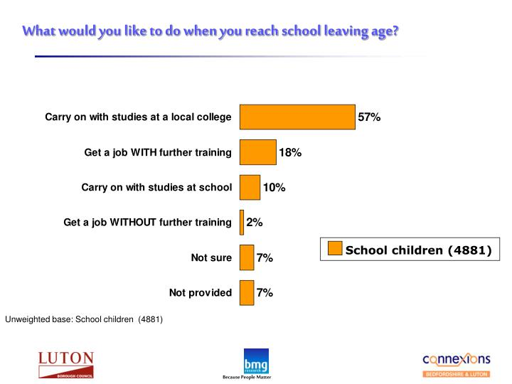 What would you like to do when you reach school leaving age?