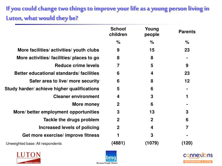 If you could change two things to improve your life as a young person living in Luton, what would they be?