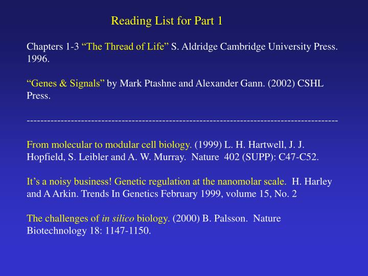 Reading List for Part 1