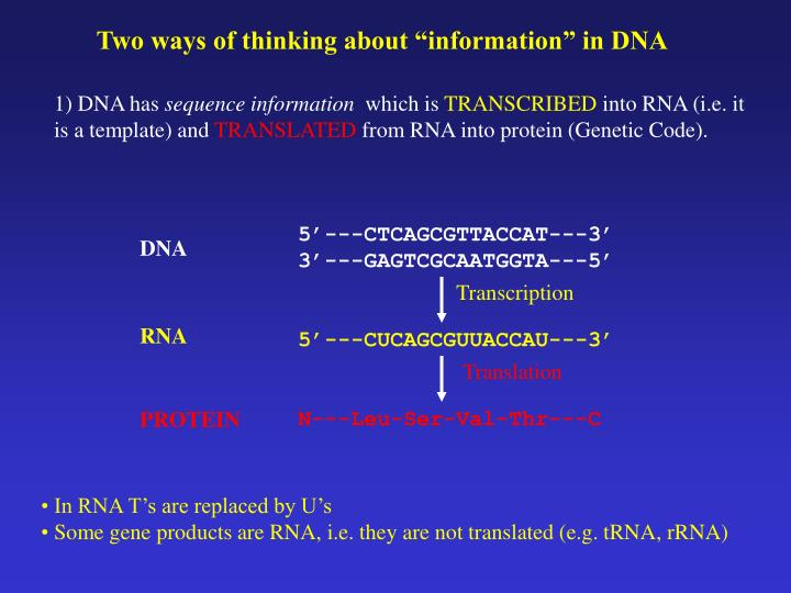 """Two ways of thinking about """"information"""" in DNA"""