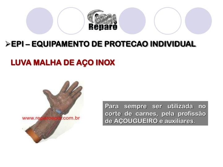 EPI – EQUIPAMENTO DE PROTECAO INDIVIDUAL