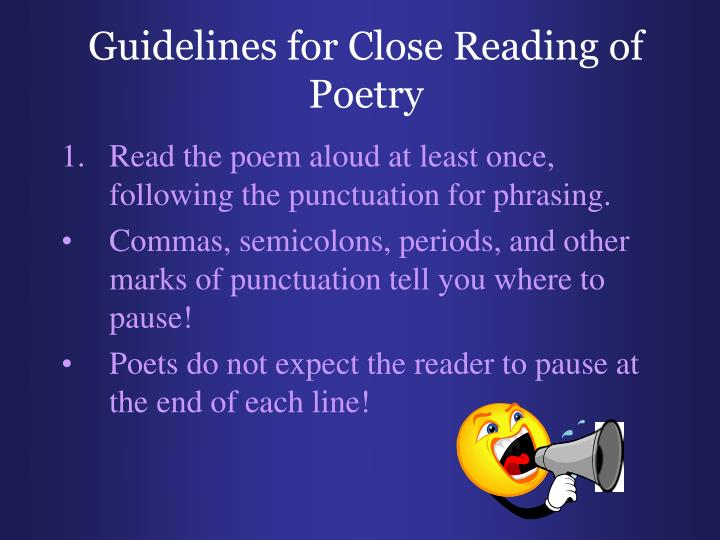 Guidelines for Close Reading of Poetry