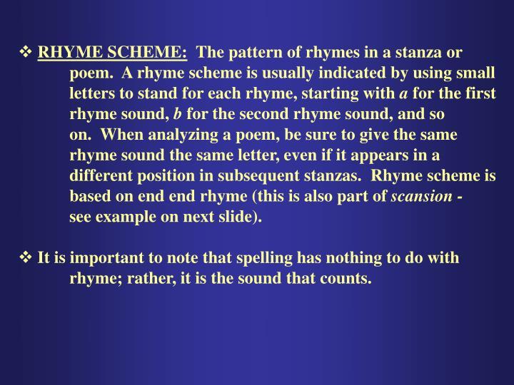 RHYME SCHEME: