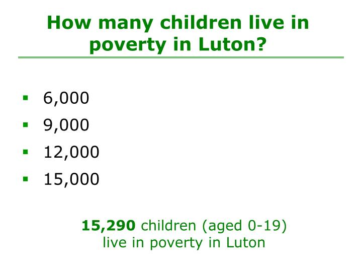 How many children live in poverty in Luton?