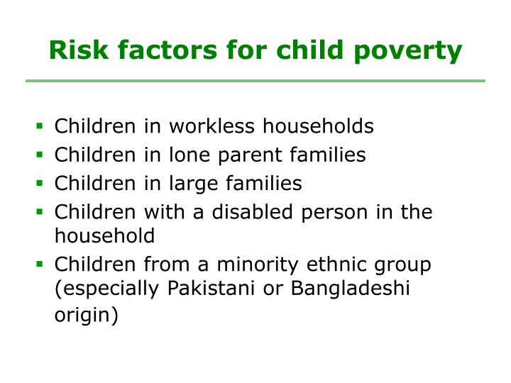 Risk factors for child poverty