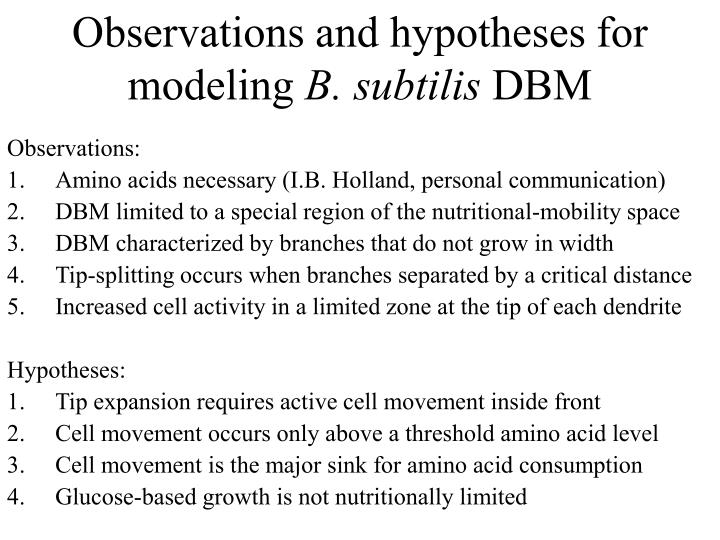 Observations and hypotheses for modeling