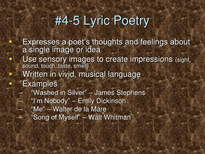 #4-5 Lyric Poetry