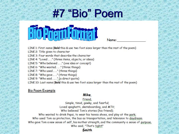 """#7 """"Bio"""" Poem"""