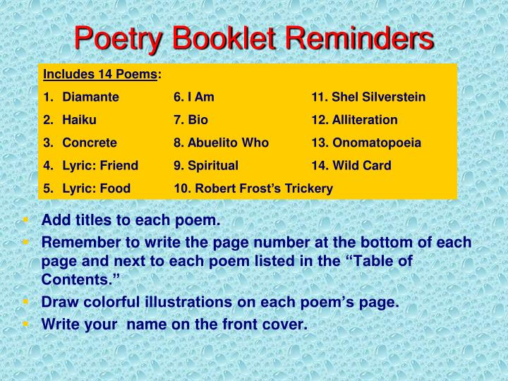 Poetry Booklet Reminders