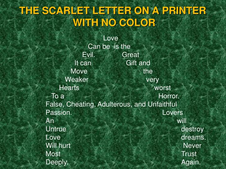 THE SCARLET LETTER ON A PRINTER