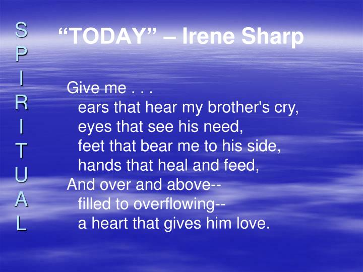 """TODAY"" – Irene Sharp"