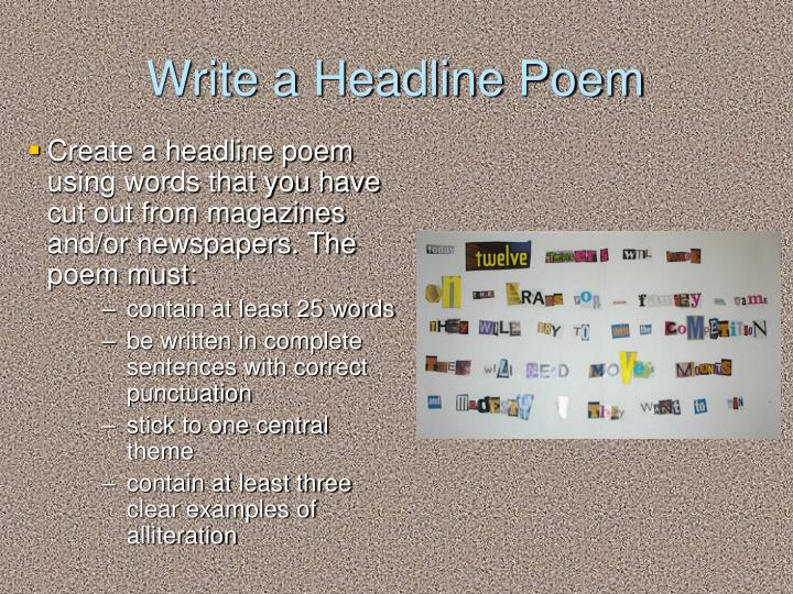 Write a Headline Poem