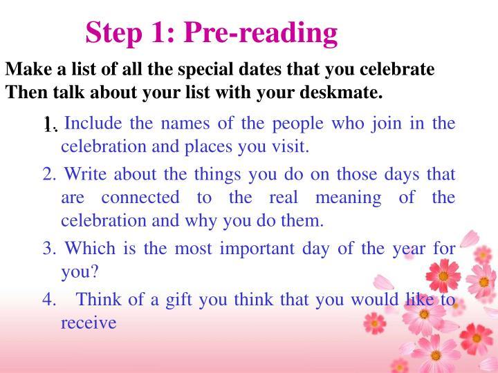 Step 1: Pre-reading