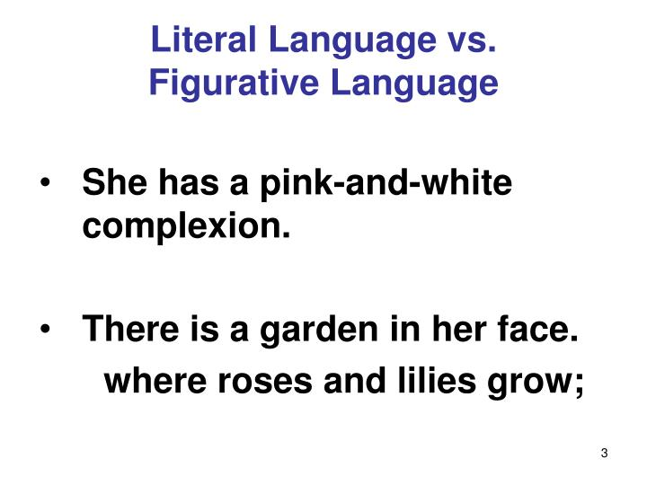 Literal language vs figurative language